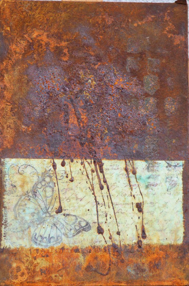 Patina Holz rost auf holz 6 20x30x3 holzkörper casani papier rost patina