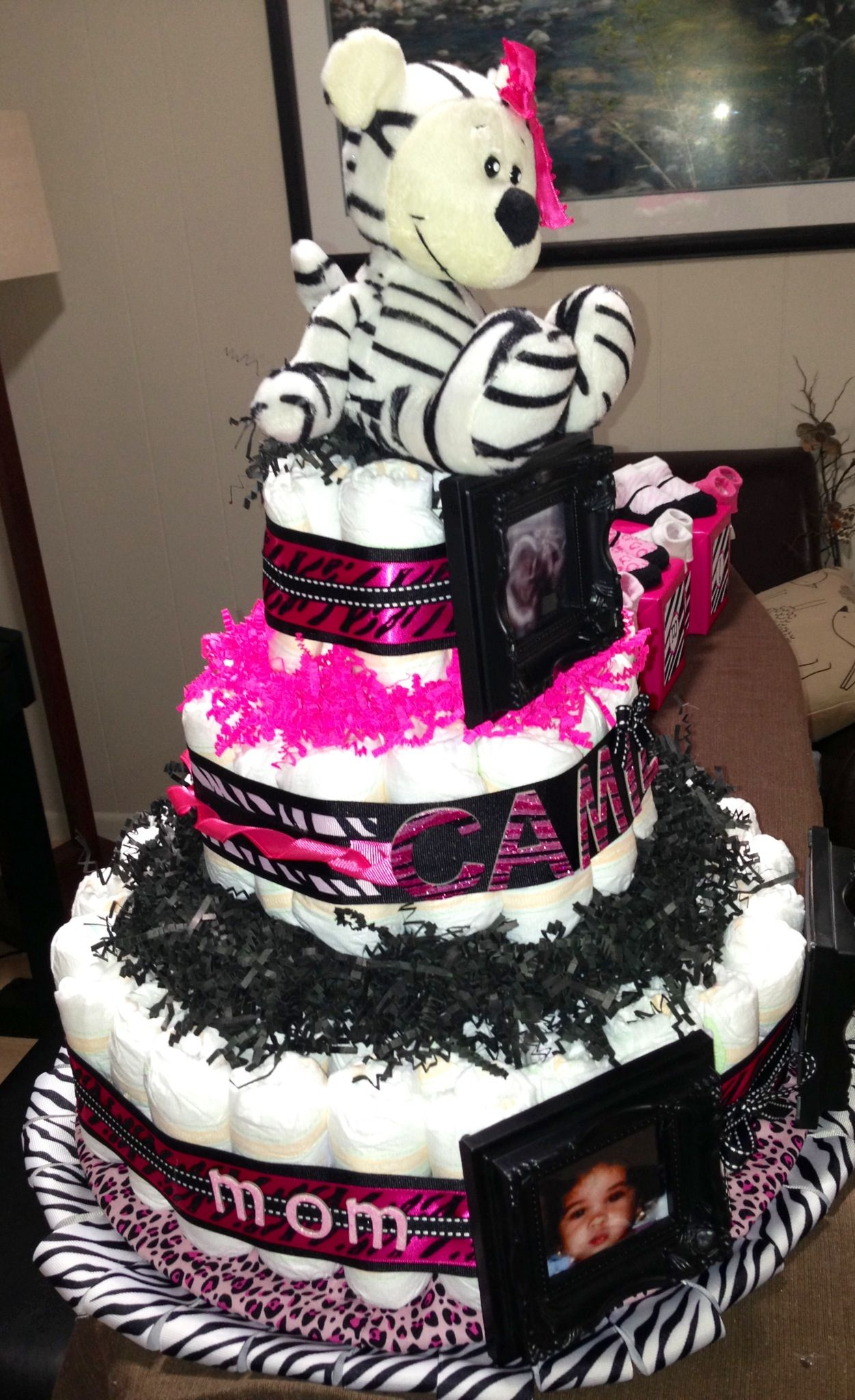 Zebra Diaper Cake Diaper Cakes Zebra Diaper Cakes Baby Socks