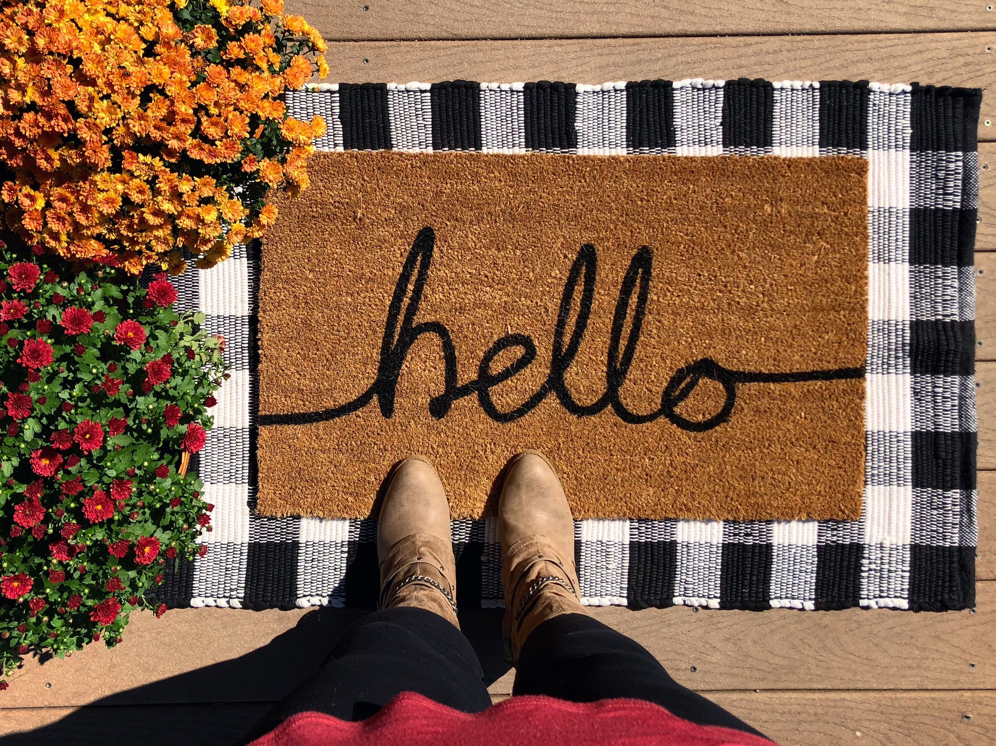 27eb52e5ee9a2 Hello Welcome Mat Layered Buffalo plaid rug and coconut fiber mat ...