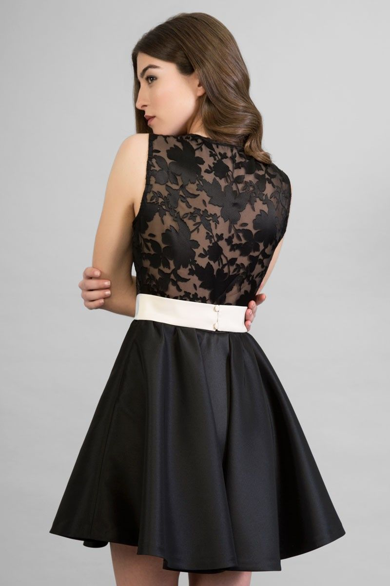 2335271d58 vestido corto beige negro falda de vuelo realza la figura para fiesta boda  evento ocasion coctel bautizo apparentia
