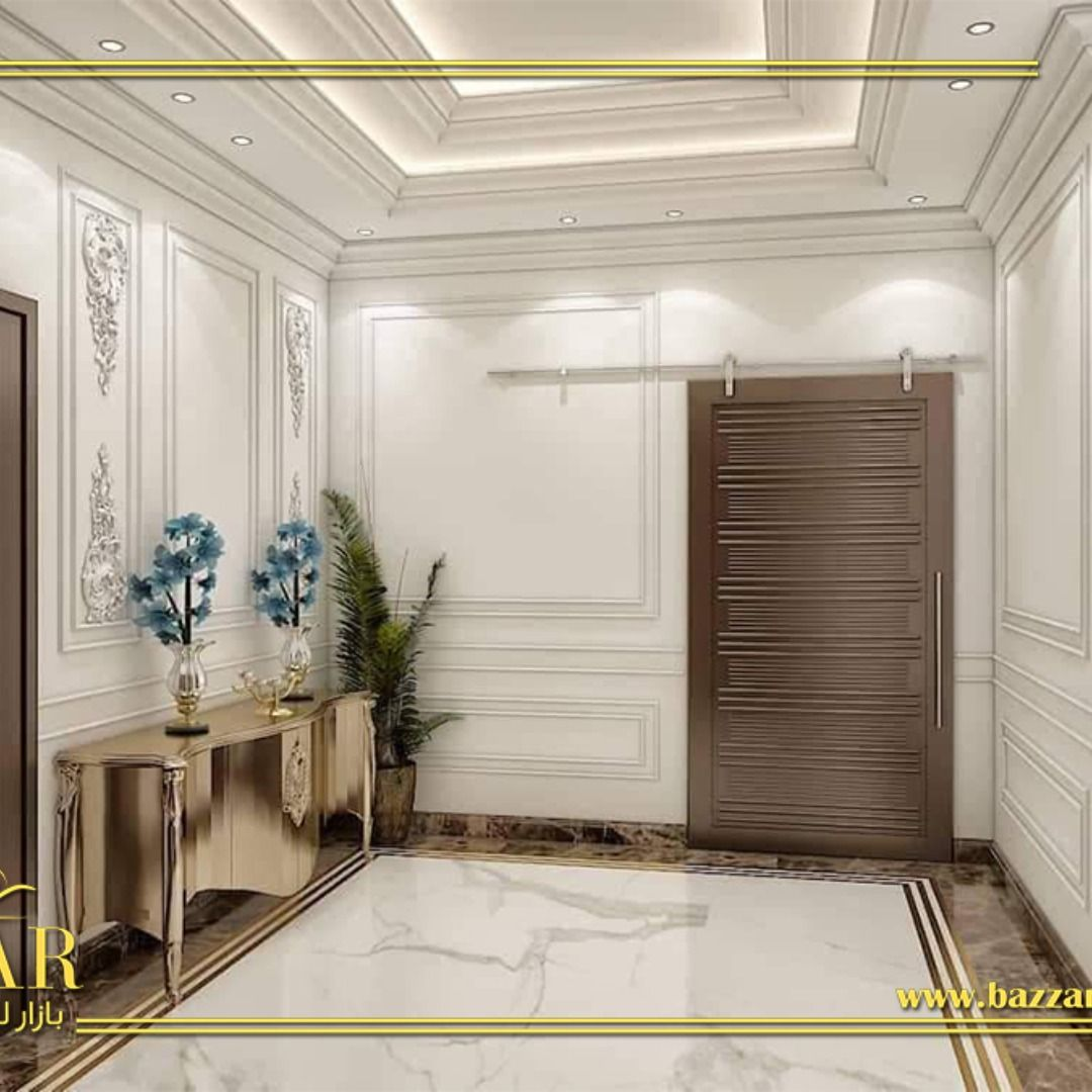 ديكور مجلس رجال نيوكلاسيك فخم ومميز اختار المصمم اللون الابيض لطلاء الجدران و تم تزيين الحوائط بالبانوهات مما اعطى مظهرا ملوكي للمج Bars For Home Interior Home