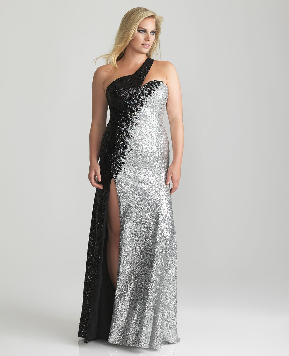 Black & Silver Sequin Sweetheart One Shoulder Plus Size Dress ...