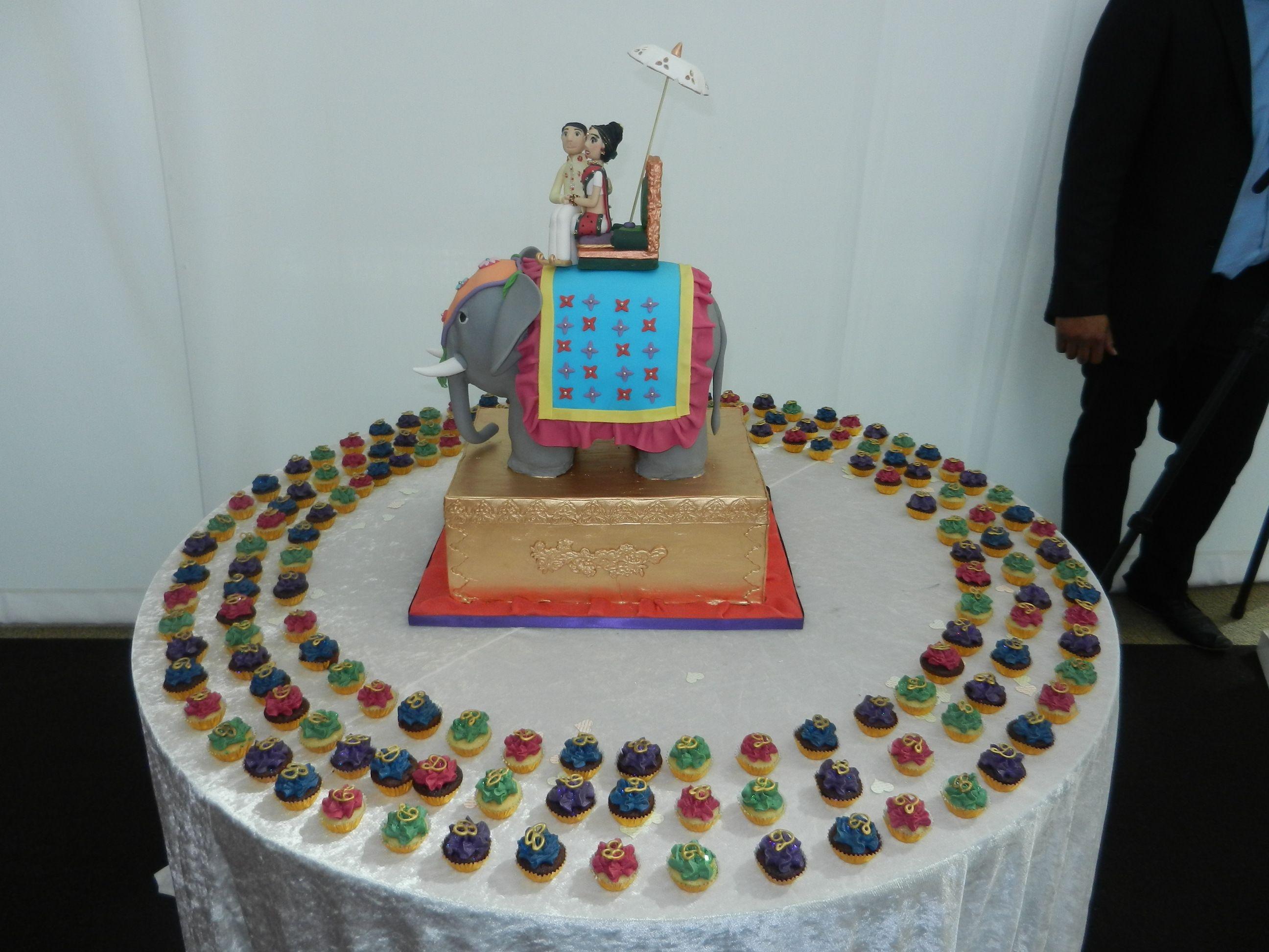 Indian elephant wedding cake with mini jewel coloured