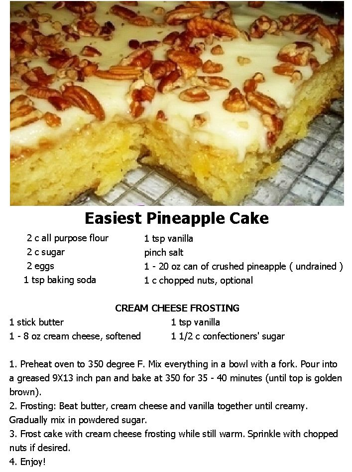 Easiest Pineapple Cake I Love One Bowl Recipes And This Is No Exception You Spread The Cream Cheese Frosting Over It While Its Still Hot So