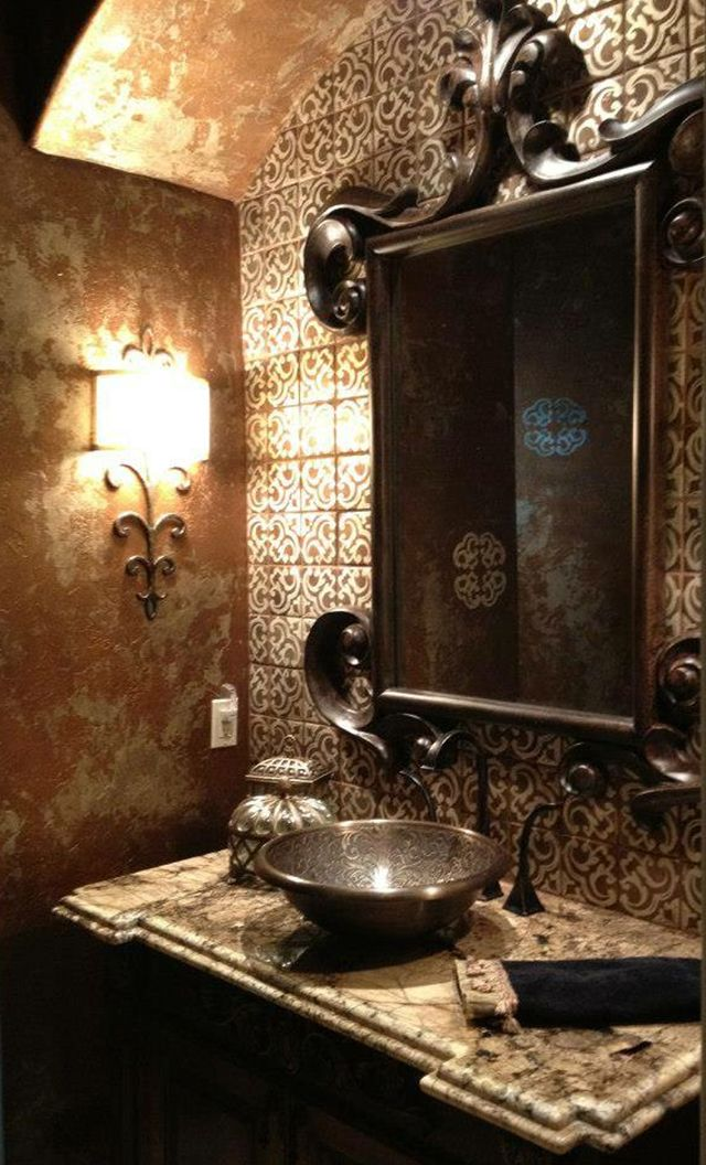 Mix of metallic paints on spanish inspired bath walls blog modern masters by modern Best paint finish for bathroom