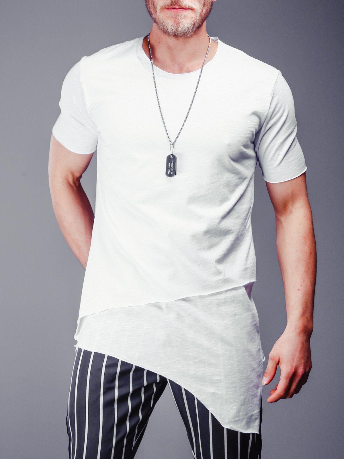 1f5d4304101b Longline T-Shirt Asymmetric Cut - White in 2019 | Products | Long a ...