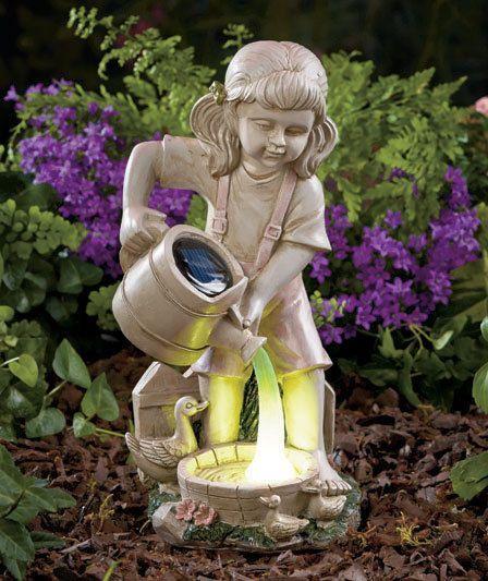 Brilliant Solar Garden Ornaments Outdoor Decor Solar Light Watering Garden  Statue Yard Lawn Art Patio Porch