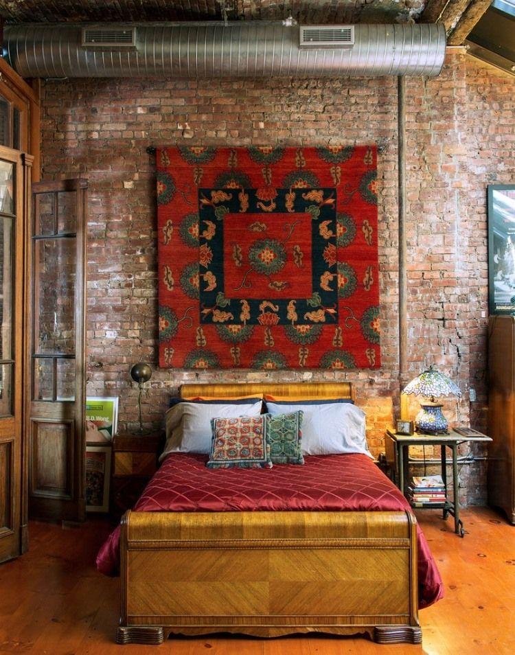 eclectic bedroom design, brick walls, colonial french doors, red