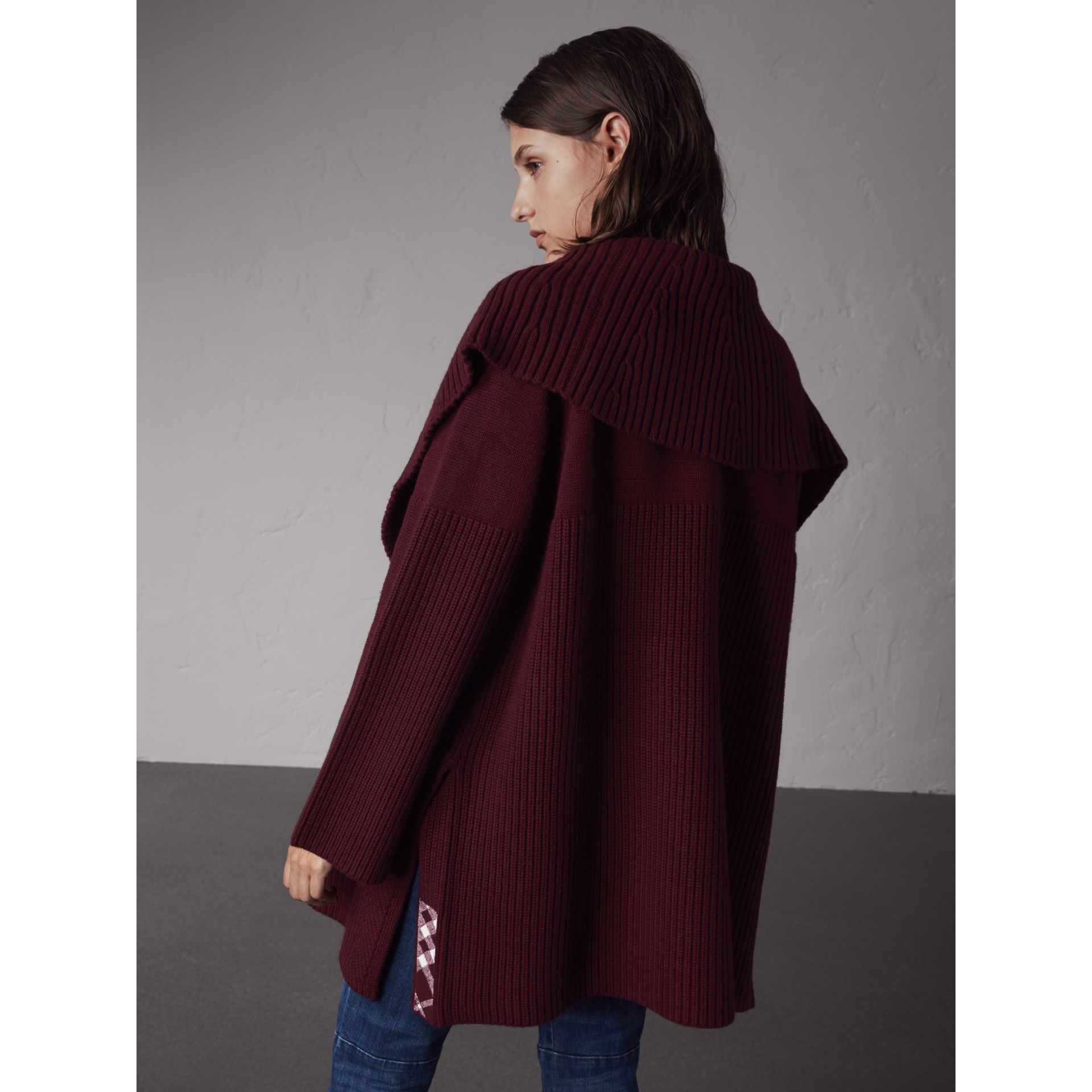 Ribbed Wool Cashmere Cardigan Coat in Burgundy - Women | Burberry ...