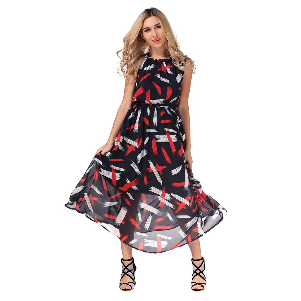 Click to buy ucuc new arrival print long dress boho halter women
