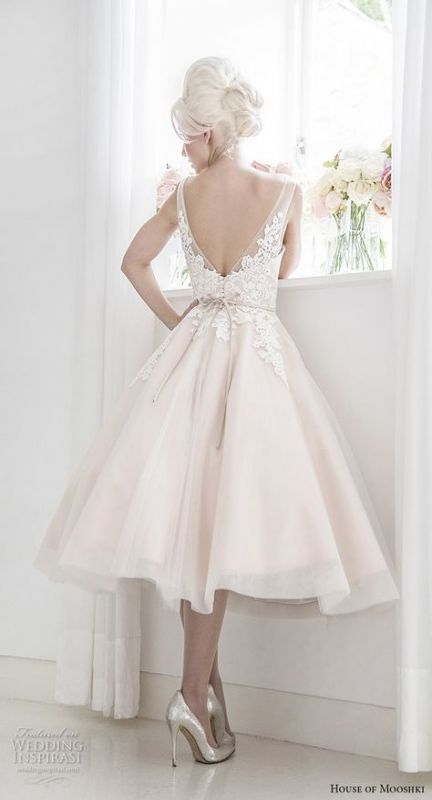 Trendy Brautkleider kurze romantische Tee Länge Ideen