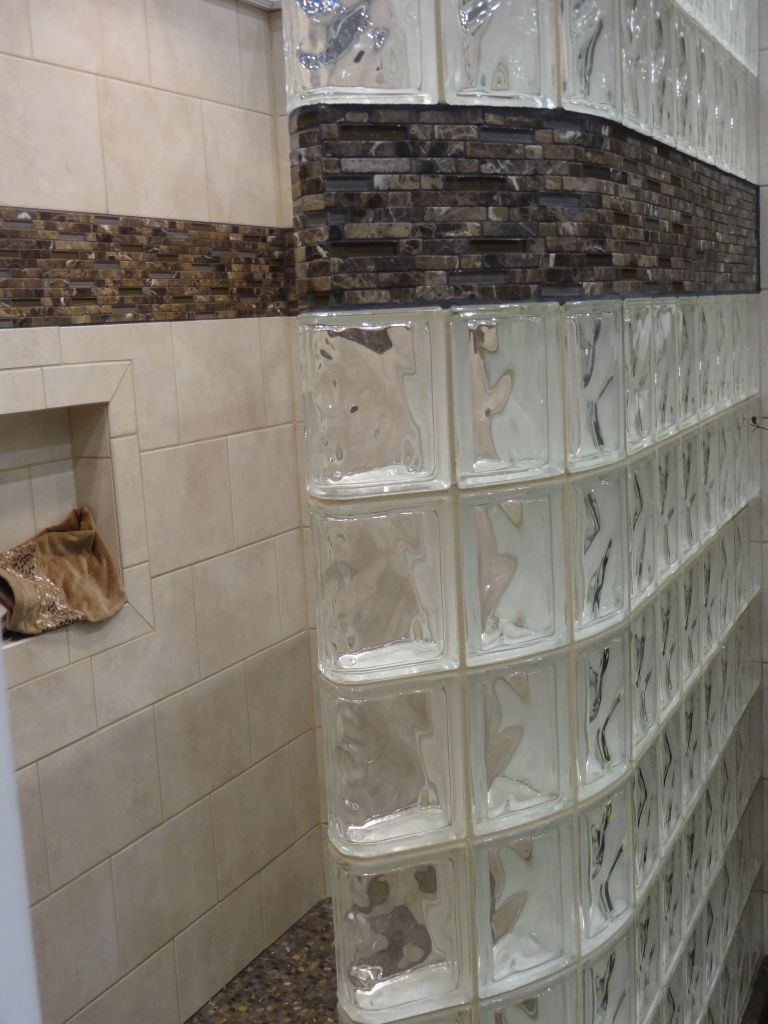 adding a tile border to a glass block shower wall | walls, tile