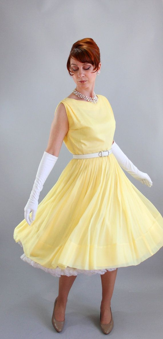 1950s Bright Pastel Yellow Party Dress Formal Mad Men Fashion Summer Wedding Bridesmaid