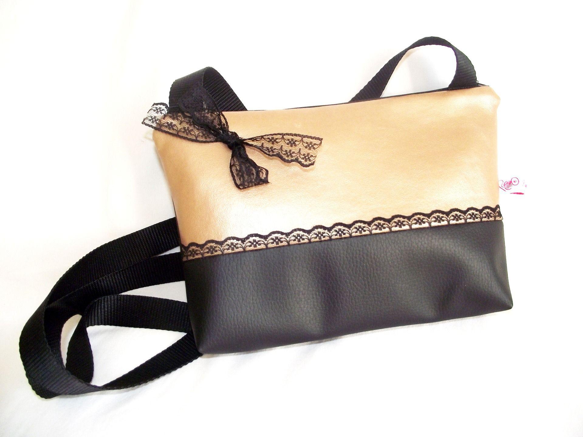 cuir bicolore simili de orné à en main et Sac noir pochette doré X6Ypw