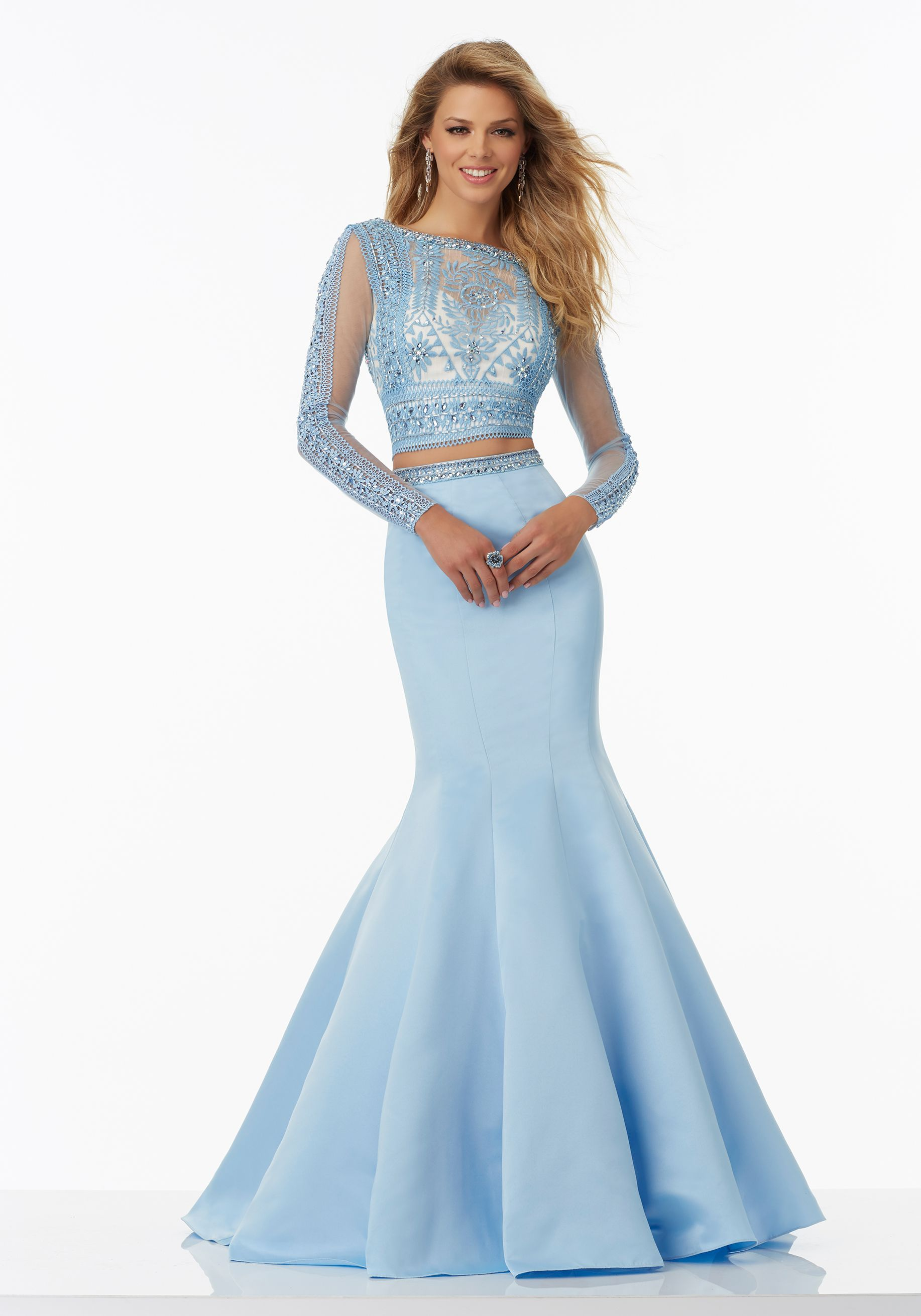 Long Sleeve TwoPiece Prom Dress with Satin Skirt and Embroidered