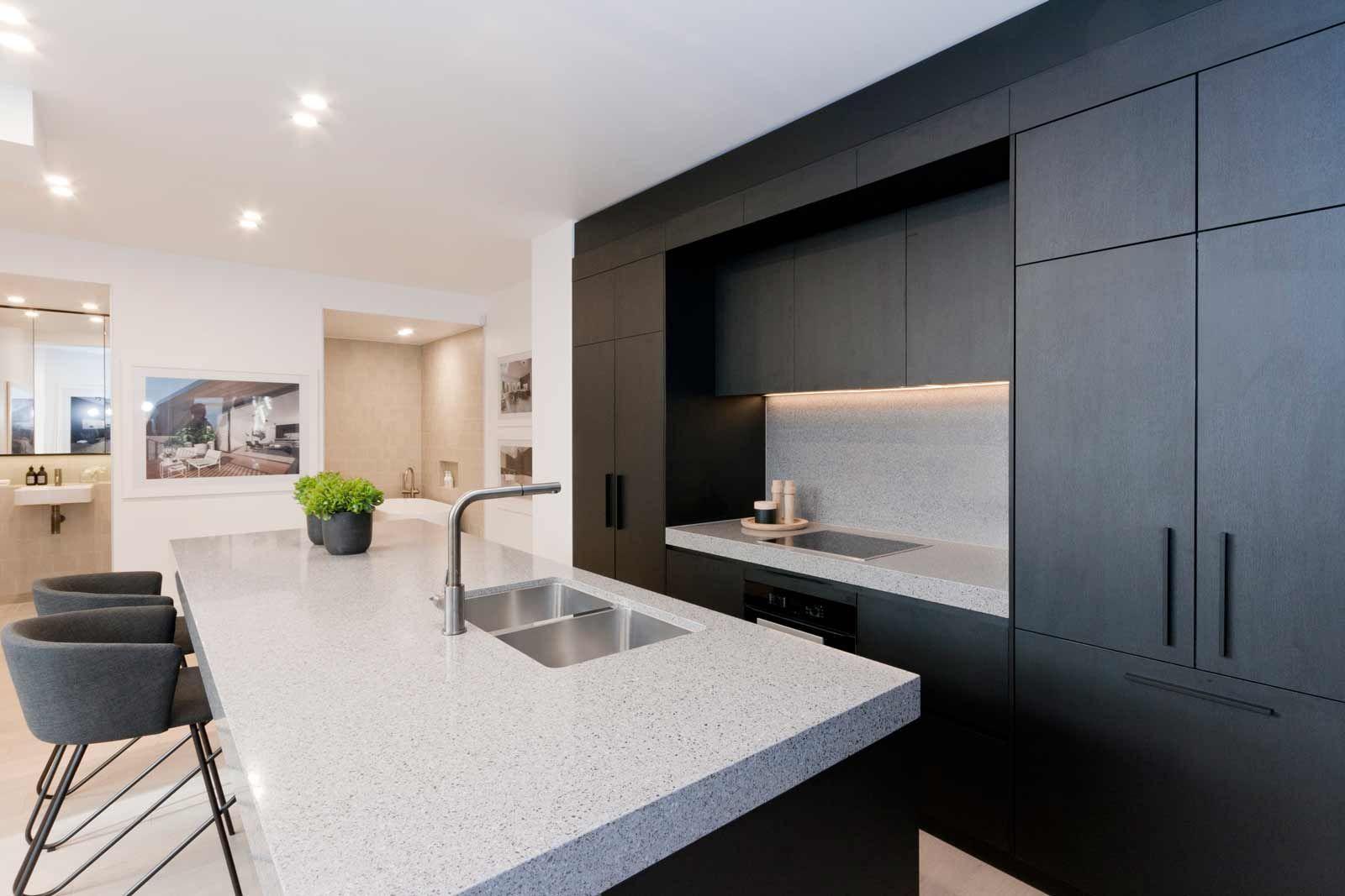 Interior MOdern Black Matte Kitchen Cabinet Table With Double Sink - Dark grey matt kitchen