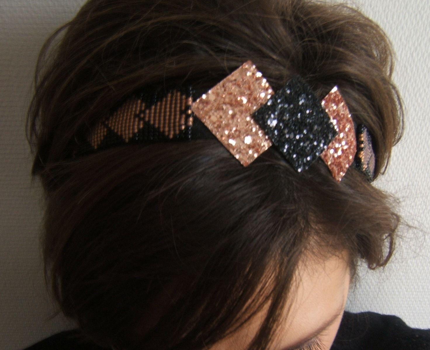 Bijou de tête, Bandeau Cheveux, Serre Tête, Headband Réglable Tissé en  Perles et Paillettes Glitter Noir et Or Rose  Accessoires coiffure par  emma,shop