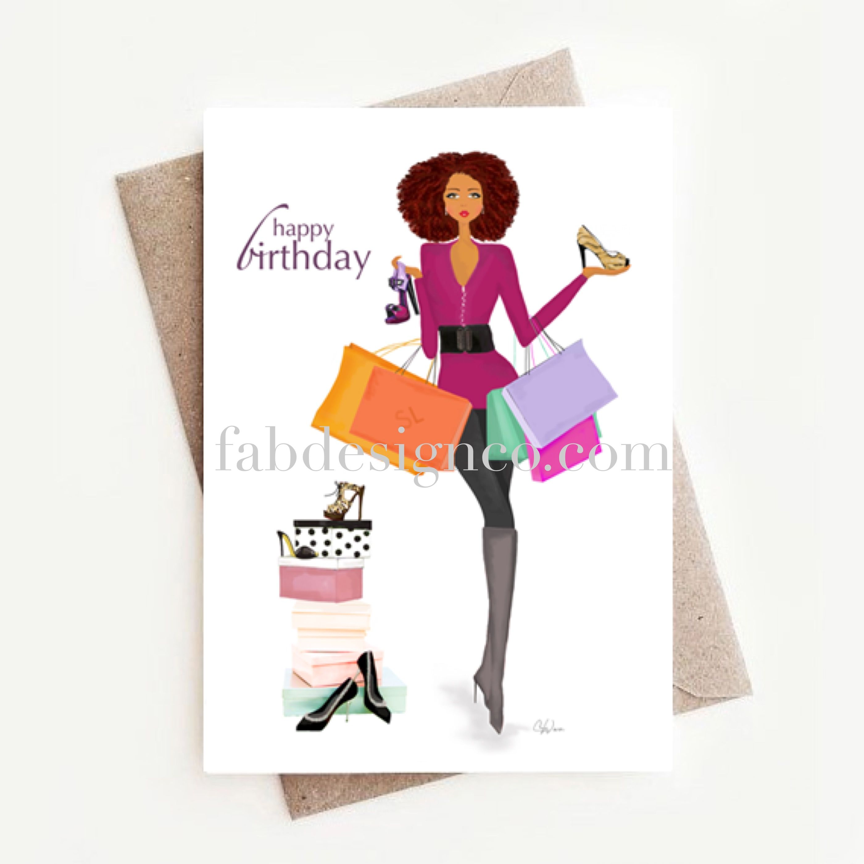 Birthday Greeting Card African American Greeting Card Fashionista