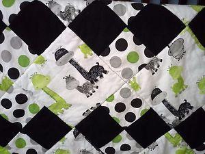 "Baby Boy Crib Quilt Handmade Featuring Adorable Giraffe Pattern  34.5"" X 34.5"""
