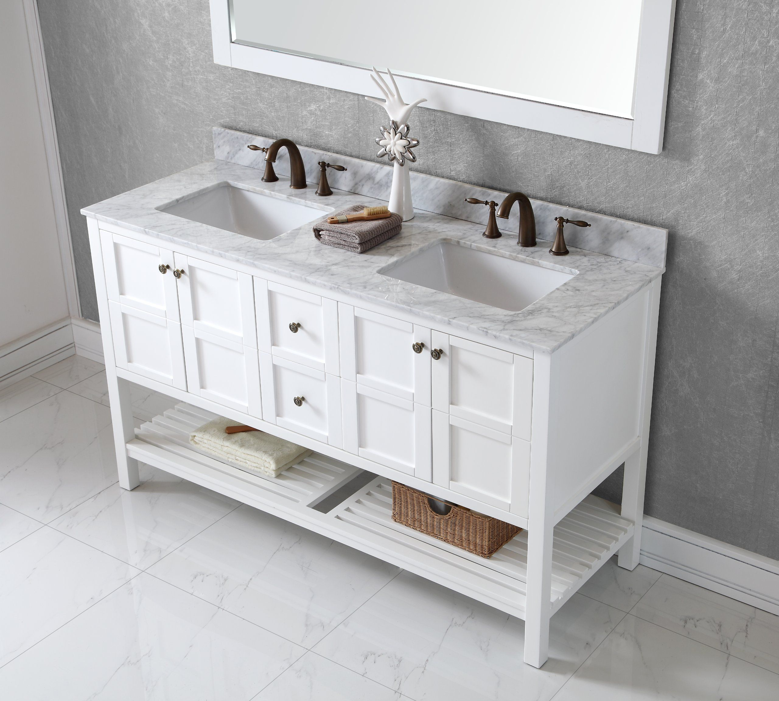 Virtu Usa Ed 30060 Wmsq Awh Winterfell 60 Inch Double Bathroom Vanity Set White Prime Shipping And 1410