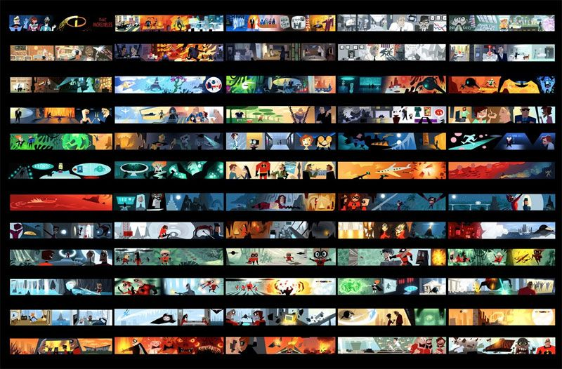 Pixar Incredibles ColorScript Lighting and Color in Animation - script storyboard