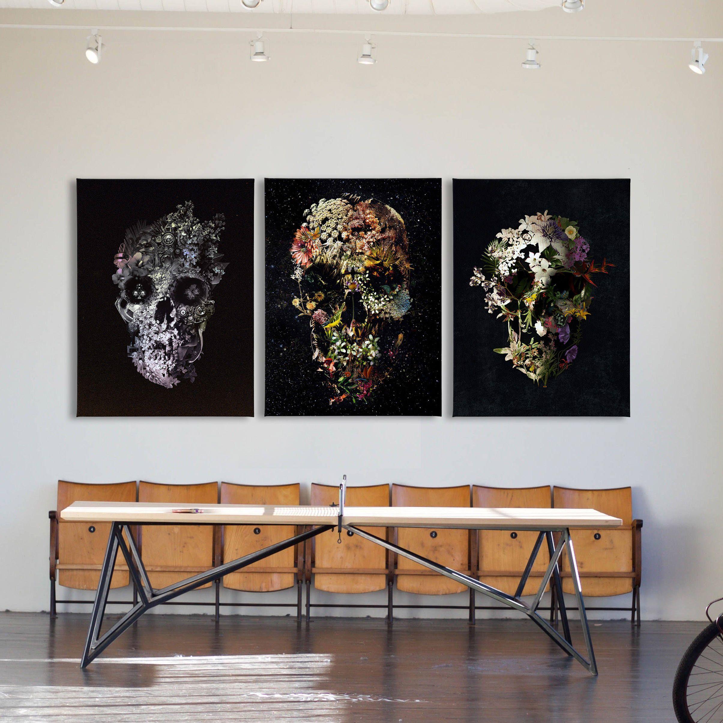 Custom Set Of 3 Skull Canvas Print 3 Piece Canvas Skull Art Etsy Skull Art Print Skull Wall Art Skull Art