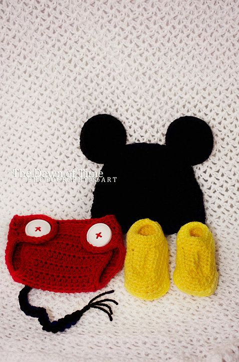 a26445823fb Mickey Mouse Inspired Newborn Crochet Hat