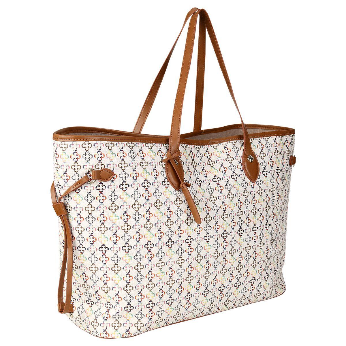 4d55178b9 Bolsa Capodarte Shopper Monograma Off White e Caramelo   Zattini ...