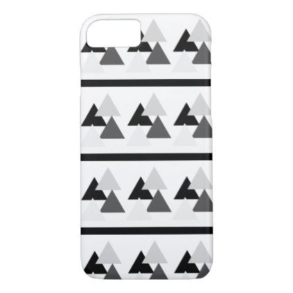 Black & Light Medium and Dark Gray Triangles iPhone 8/7 Case - simple clear clean design style unique diy