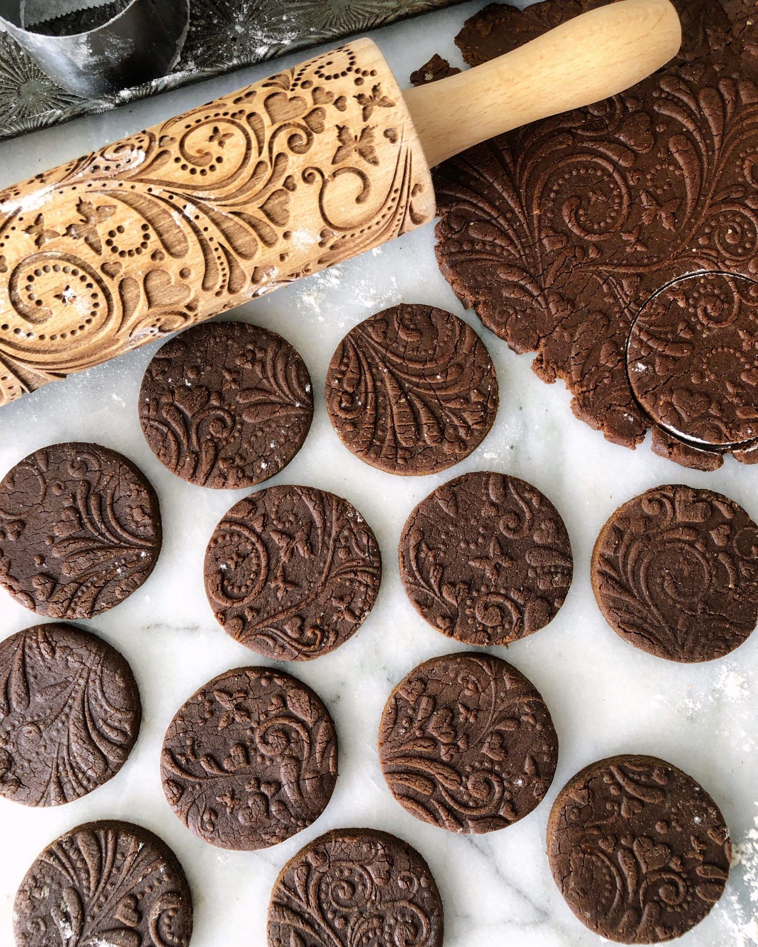 Embossing Rolling Pin Christmas Gift Pattern For DIY Kitchen Cookies Gingerbread