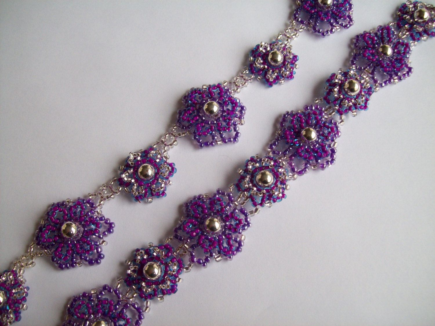 Tutorial Beaded Two Layer Flower Necklace And Bracelet