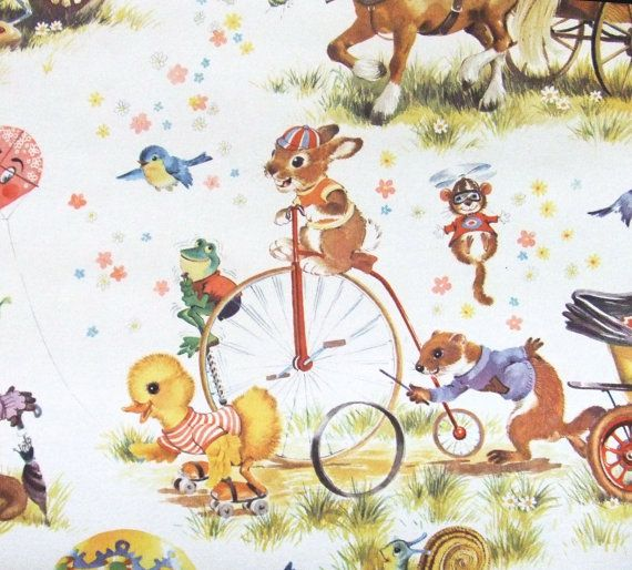 Vintage Nursery Wallpaper Going To The Fair By Textilesandthings