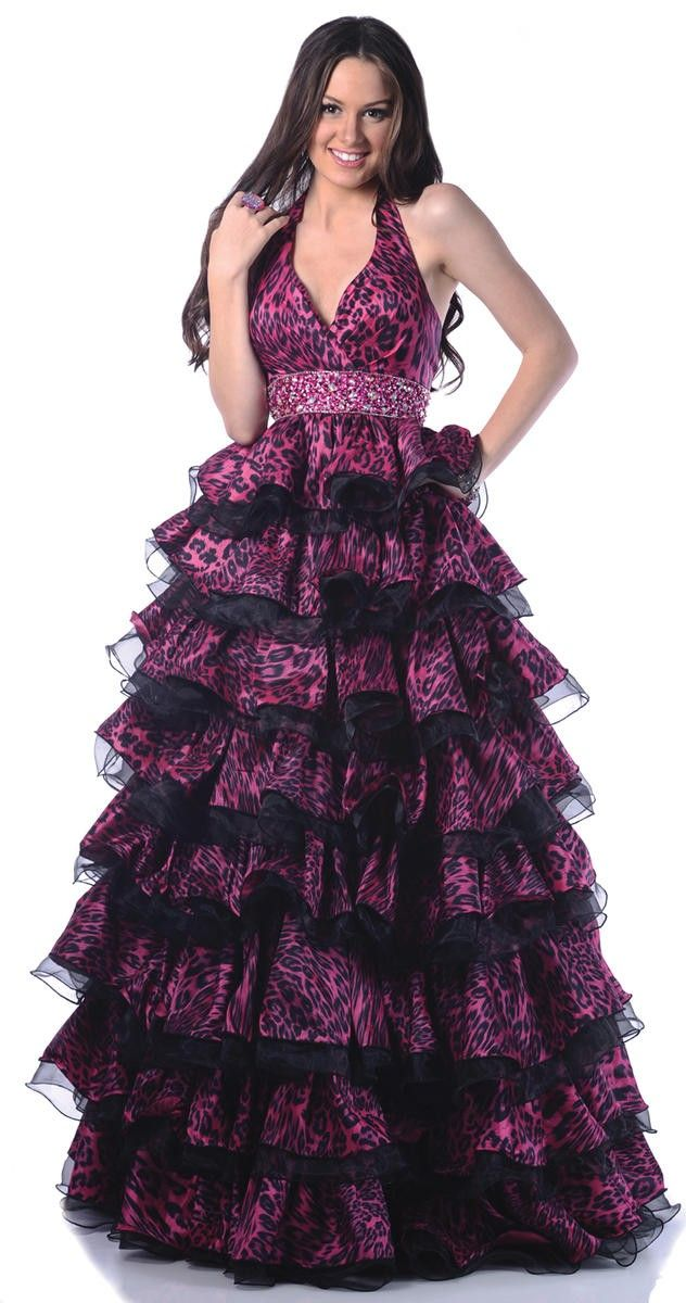 halter style ball gown with empire waist and tiered leopard print ...