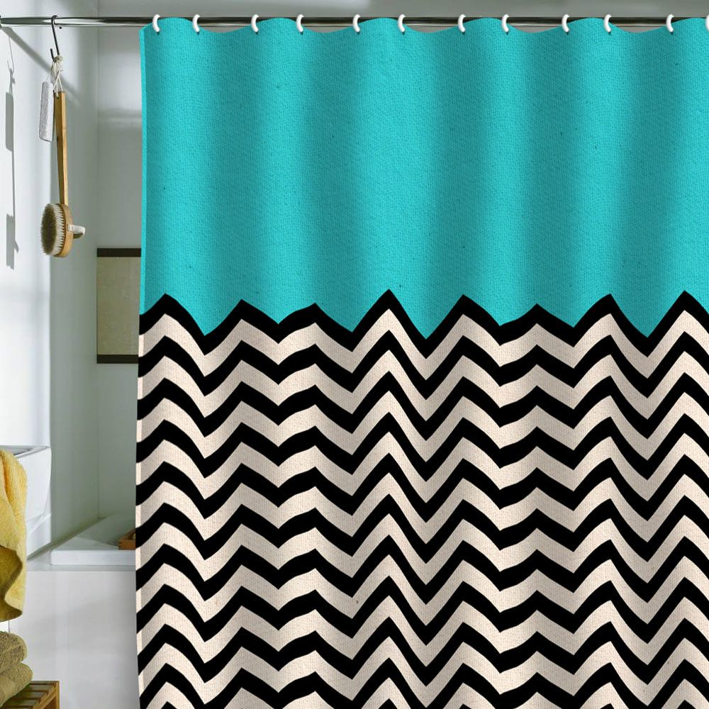 Aqua Chevron Shower Curtain - Bianca green follow the sky shower curtain