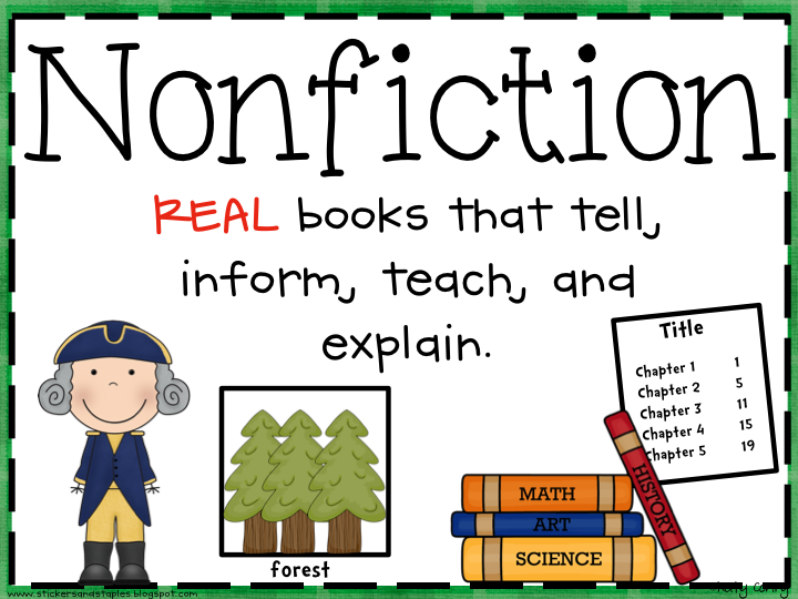 freebie fiction and nonfiction poster reading pinterest