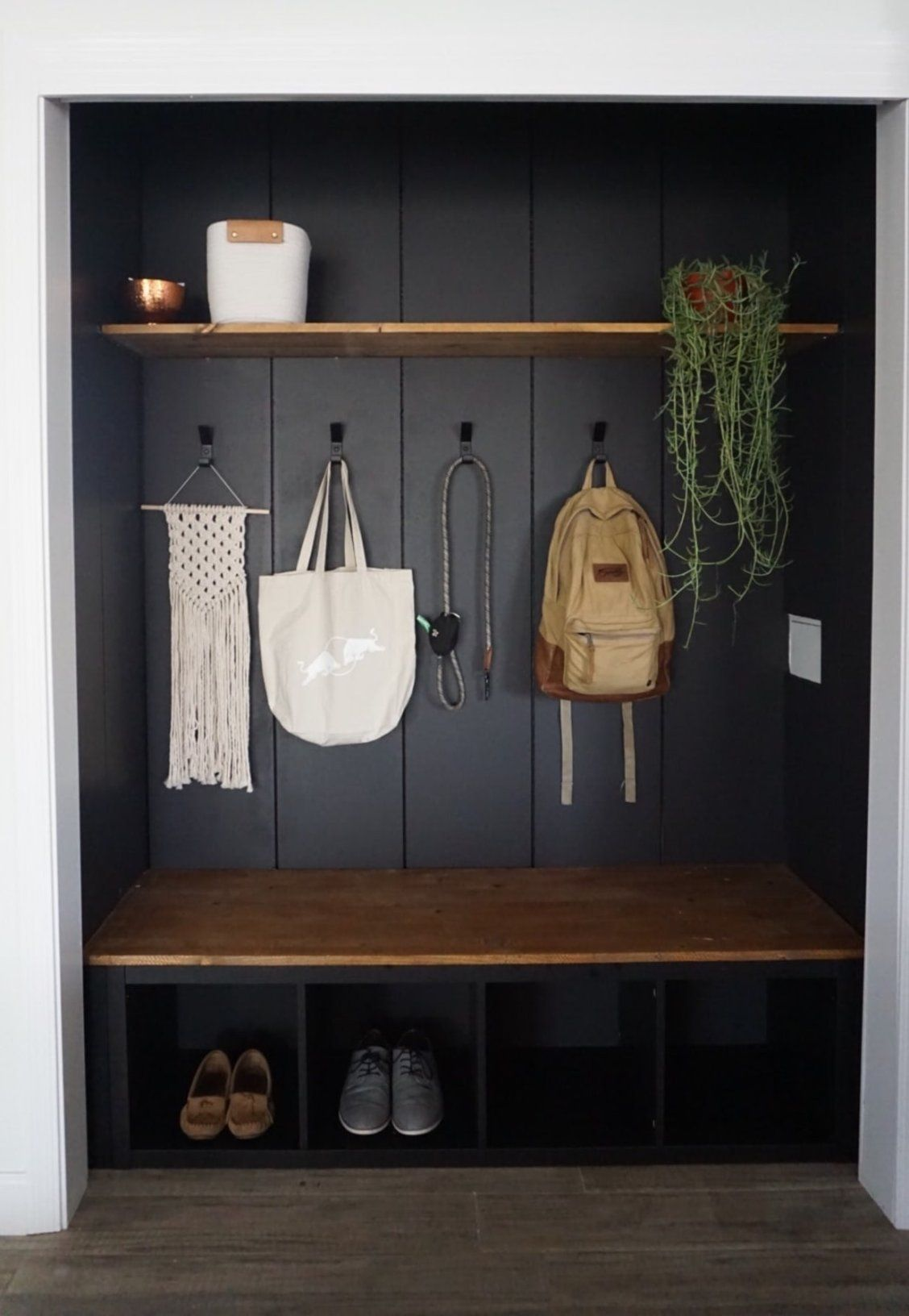 Before And After: $215 and clever DIYs made this entryway much more practical. #entrywaymakeover #entryway #entrywayideas #mudroom #mudroomideas #entrywaydecor #mudroomdecor #mudroomstorage #entrywaystorage #closetideas #closetstorage