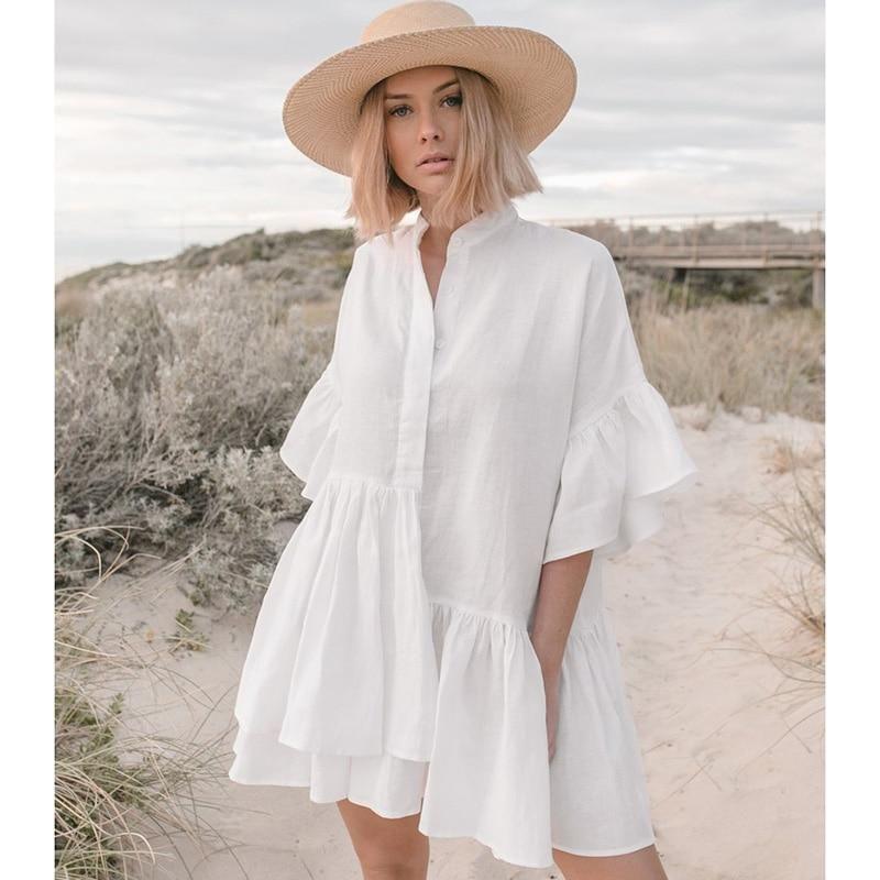 Mandarin Sleeve Beach Tunic Dress