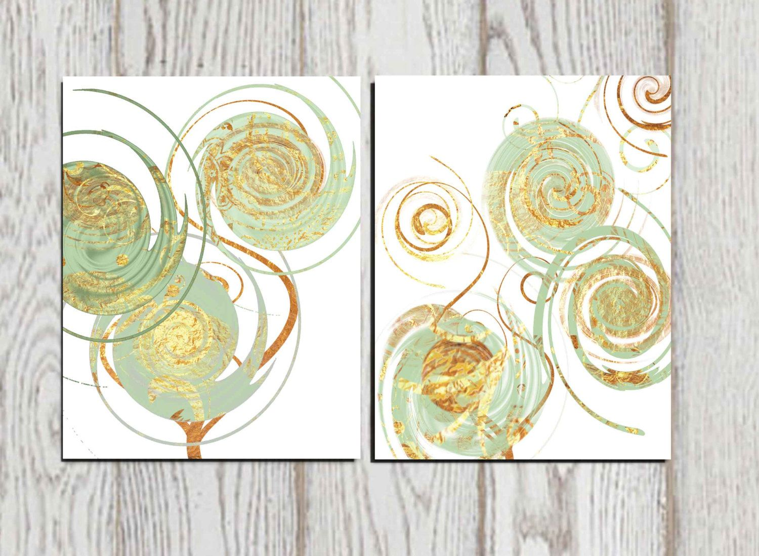 Abstract art print Printable Set of 2 Mint Gold white Home decor ...