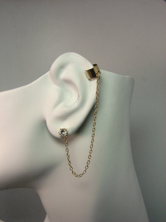 Mini Ear Cuff Bajoran Vogue Chain Earring 14k Gold Filled Cartilage Clip With Interchangeable Cz Stud Included Mcbjgf