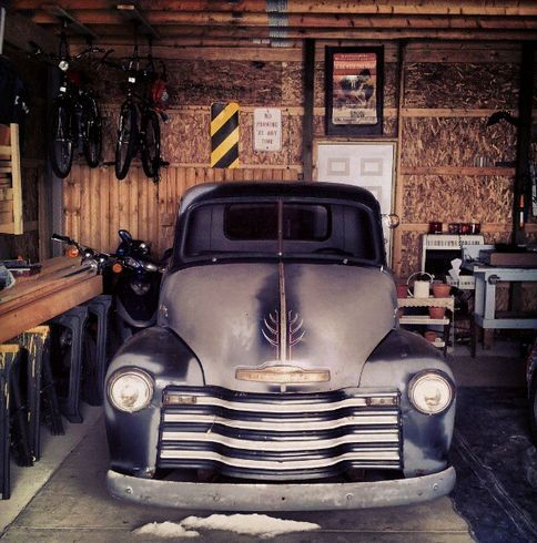 1953 chevy rat rod truck in garage in chesaning michigan owned by Corvair Van Rat Rod 1953 chevy rat rod truck in garage in chesaning michigan owned by justin carlton