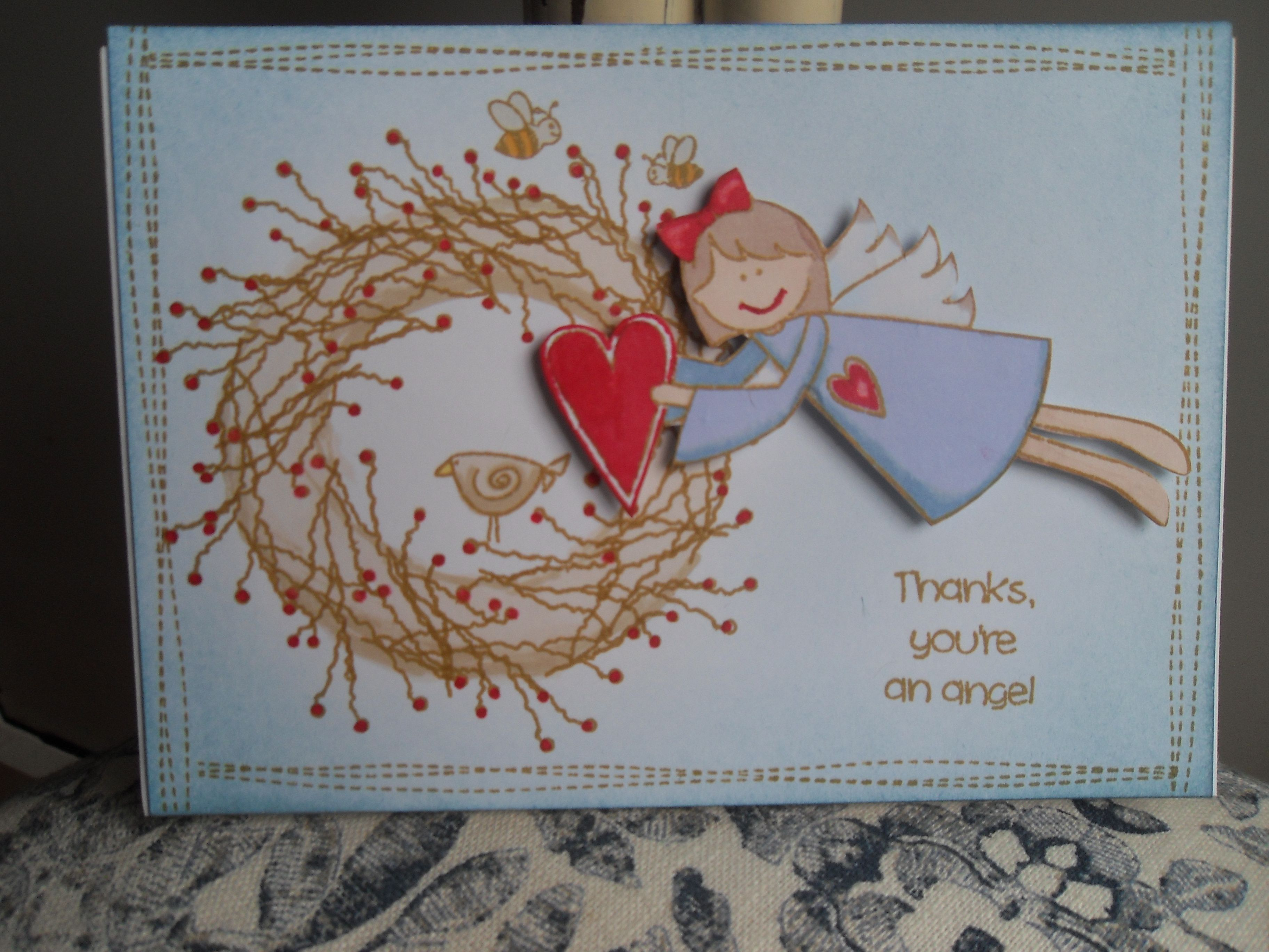 Thank you card using inky doodle stamps.