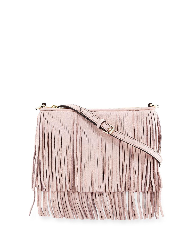 969a03f9d Finn Leather Fringe Crossbody Bag Baby Pink   *Handbags, Wallets ...