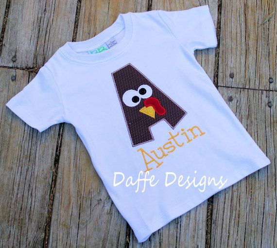 Turkey Gobble Alphabet Monogrammed Halloween Fall Custom Personalized Shirt on Etsy, $25.00