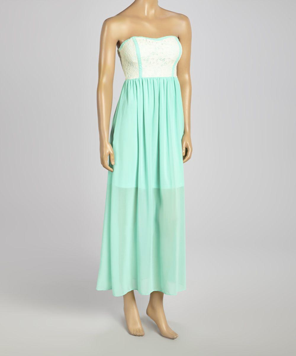 Mint white sheer lace strapless maxi dress maxi skirt