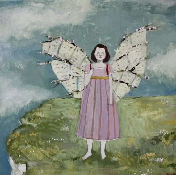 she made wings of love letters and cherry blossoms   ...painting by Amanda Blake