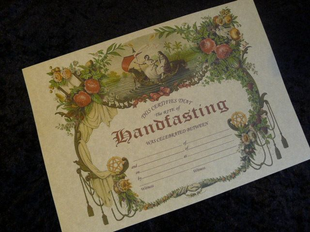 handfasting certificate wedding marriage parchment poster wicca pagan print art witch