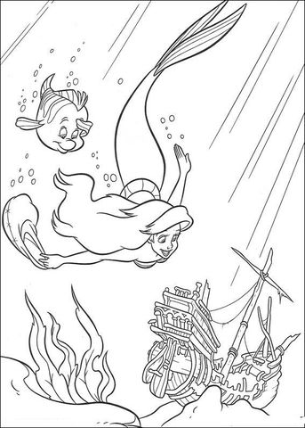 Ariel And Flounder Are Swimming Together Coloring Page From The