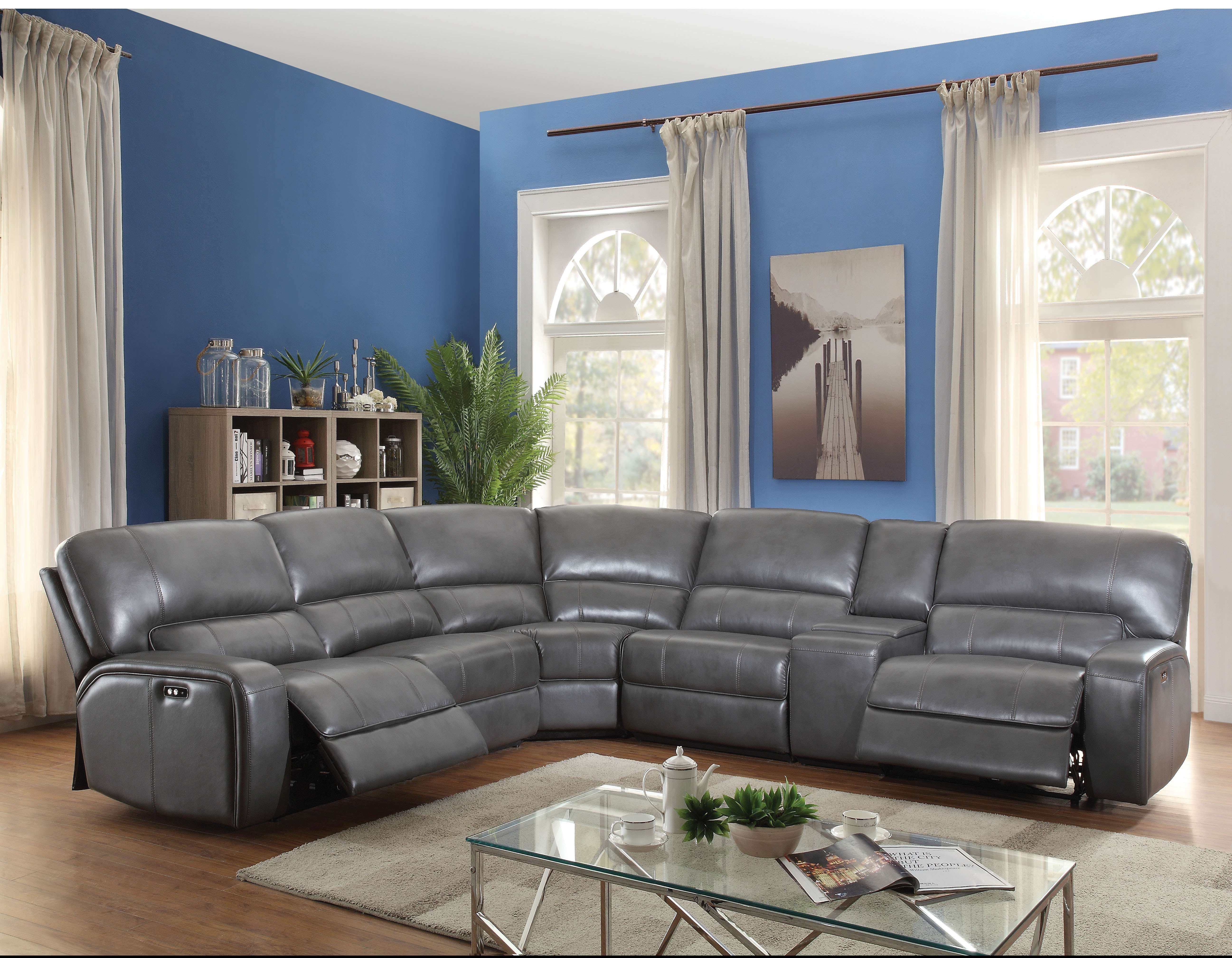 Acme Furniture Saul Gray Leather Aire Power Motion Sectional Sofa With Usb 53745 Goedekers Com Reclining Sectional Living Room Furniture Recliner Leather Reclining Sectional