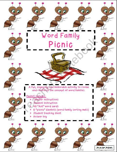 Word Family Picnic Activity product from Joy-in-the-Journey on - sample sales tracking