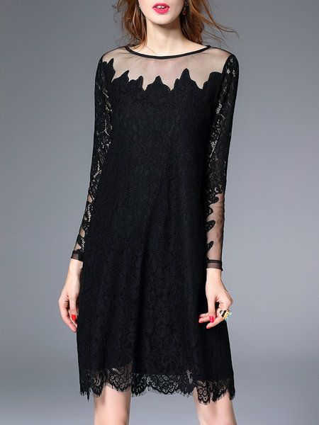 Long sleeve black lace dress h&m home